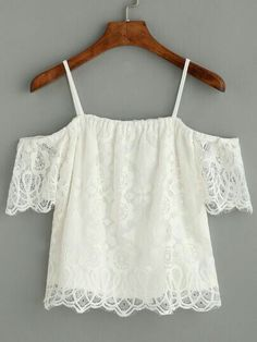 h Lace Top online. SheIn offers White Cold Shoulder Eyelash Lace Top & more to fit your fashionable needs. Teen Fashion, Fashion Outfits, Womens Fashion, Fashion Trends, Fashion Weeks, Paris Fashion, Cool Outfits, Summer Outfits, Casual Outfits