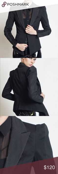Carbon-14 Blazer Black gabardine blazer with textured rubber lapels and sleeve insets. Hexagonal built up shoulder, hook front and full lining. Michelle Uberreste Jackets & Coats Blazers