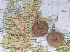 Denmark coin earrings - 2 different desgins - made of original coins from Denmark - wanderlust - globetrotter door HandmadeByCharlie0 op Etsy