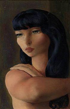 Small head of a brune, 1930  Moise Kisling