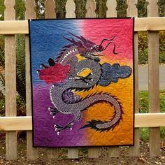 Asian Dragon Art Quilt Handmade Wall Hanging by DesignerDahliasEtc, $80.00