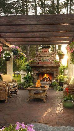 Backyard Retreat, Fire Pit Backyard, Backyard Paradise, Backyard Patio Designs, Backyard Landscaping, Patio Ideas, Porch Ideas, Diy Patio, Outdoor Rooms