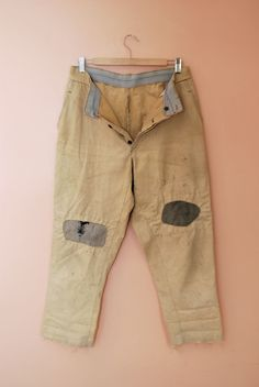 Vtg 1940s French Canvas Chore Hunting Trousers Patched Work Pants Hobo WorkWear | eBay