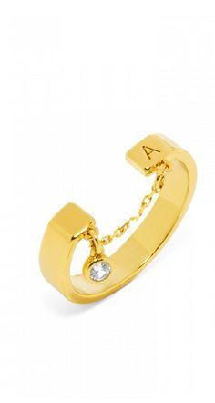mini hollywood initial ring