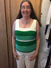 "This is the second tank top I'm knitting. I've designed the original pattern and the first sample was a Medium Size 8-10 (36-38"" bust). Now I'm knitting a Large Size 12-14 (..."