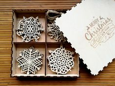 Wooden Snowflake Ornaments, Wood Christmas Decoration, Snowflakes, Christmas tree ornaments, Christmas Gift, Christmas Ornament, Set of 8-20 by WoodPresentStudio on Etsy https://www.etsy.com/listing/470112890/wooden-snowflake-ornaments-wood