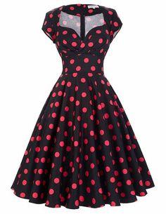 Belle Poque Womens Summer Dresses 2017 Summer Retro Cotton Party Dress Polka Dot Pattern Floral Short Vintage 60s 50s Dresses