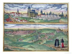 Map of Prague, from Civitates Orbis Terrarum by Georg Braun and Frans Hogenberg, circa 1572 Giclee Print by Joris Hoefnagel at AllPosters.com. 24x18 $50