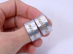 Custom Silver Quote Rings  Set of TWO rings for by MerCurios, $56.00