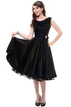 Black Scoop Neck Belted Swing Dress - Unique Vintage - Homecoming Dresses, Pinup & Prom Dresses.