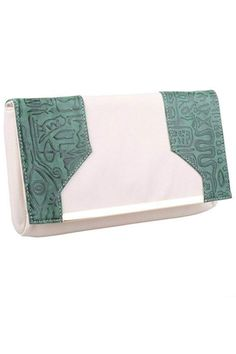 """Embossed Egyptian-like Pattern Clutch. Has a shoulder chain.    Measures W 11.80"""" X D 1.20: X H 7.10""""   Embossed Clutch by Jems from Jennie. Bags - Clutches - Evening Virginia"""