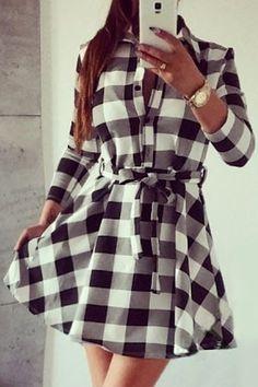 Checked Waisted Flat Neck 3/4 Sleeves Shirt Dress WHITE: Dresses 2015 | ZAFUL