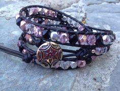 Pink, Black, Silver and Clear Czech Glass Bead and Black Leather Bracelet on Etsy, $35.00