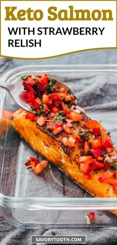 Perfect pan seared salmon fillets with a fresh strawberry relish! Learn how to cook an easy and healthy salmon dinner that is keto and paleo friendly -- I use salmon with skin on and a simple seasoning, no marinade required. The salmon develops a nice crispy browned crust, a bit blackened. The relish is made with fresh ingredients including lemon juice.
