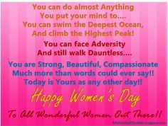 happy women's day quotes   Happy Women's Day : Women can do Anything...