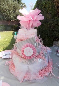 Love the pink and gray diaper cake
