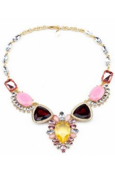 Female-chic Faced Faux Stone Bib Necklace