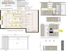 "Kitchen Plans 1/2""=1'-0"" Kitchen Flooring, Floor Plans, How To Plan, Floor Plan Drawing, Kitchen Floor, House Floor Plans"