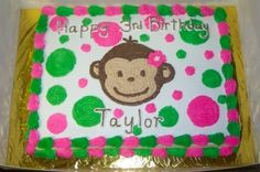 Pink & Green Mod Monkey Girl Cake By Kellybean6 on CakeCentral.com