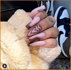 Edgy Nails, Bling Nails, Stylish Nails, Toe Nails, Swag Nails, Bling Bling, Heart Nail Designs, Cute Acrylic Nail Designs, Acrylic Nails Coffin Pink