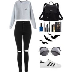 A fashion look from February 2016 featuring Chicnova Fashion sweatshirts, Topshop jeans and adidas sneakers. Browse and shop related looks.