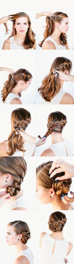 Angled French braid, into a coiled bun.