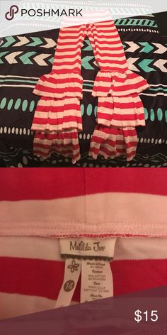 Matilda Jane Pants Red and white Benny's with the big ruffle on the bottom. Only worn twice. Size 14 in kids matilda jane  Bottoms Leggings