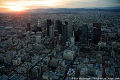 Downtown Los Angeles, CA from above. Check out the large collection of historic structures to the east of the modern skyline.