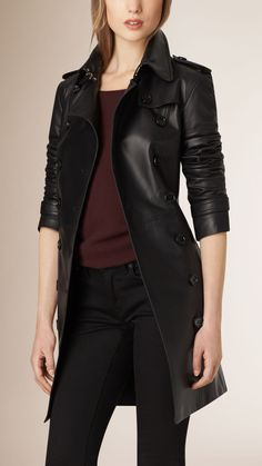There is nothing that can be compared with This Black Lambskin Double Breasted Women Trench Coat, just made in a way that you can wear it daily and everywhere. Burberry Trench Coat, Leather Trench Coat, Leather Jacket, Coats For Women, Jackets For Women, Gothic Lolita Fashion, Punk Fashion, Fashion Boots, Fall Fashion
