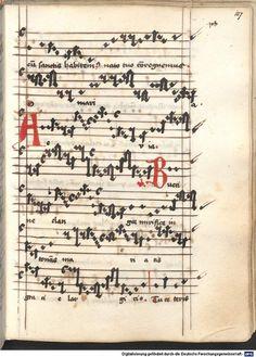 Cantionale, Geistliche Lieder mit Melodien. Münchner Marienklage Tegernsee, 3. Drittel 15. Jh. Cgm 716  Folio 107
