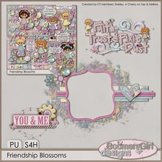 "BoomersGirl Designs: ""Friendship Blossoms"" Digital Kit with cluster frame freebie..."