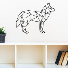 Geometric Wolf Wall Decal Sticker Art Design Removable Waterproof Vinyl Wall Stickers Home Decor For Living Room