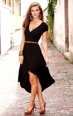 "Guillermo Alvarez Paz -Black dress brown belt & heels ~ ""who says brown and black don't look good together.."""