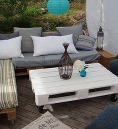 tuinidee | leuke pallettafel voor in de tuin Door anja_wil