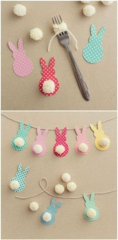 Gifts For Kids Easter decoration with bunnies - Easter bunny decoration.Learn the EASTER Bunny Story and Easter eggs facts to knowThis Colorful Easter Garland IsEaster of traditions in the company of rabbits, eggs and chocolate Decorating for Eas. Bunny Crafts, Easter Crafts For Kids, Easter Gift, Toddler Crafts, Easter Dyi, Easter Eggs, Easter Presents, Rabbit Crafts, Dyi Crafts