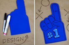 DIY Foam Finger - Football Company Picnic Idea... And the game pieces for goodie bags :-) Cheer Party, Sports Party, Hockey Party, Monster University Party, Football Crafts, Sport Craft, Company Picnic, Game Pieces, Goodie Bags