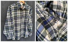 90s Flannel Shirt by Windridge Blue and White Plaid Acrylic | Etsy Yellow Flannel, White Plaid, Blue And White, Fringe Leather Jacket, Button Down Shirt Mens, Tennis Dress, Button Front Dress, Gathered Skirt, Western Dresses