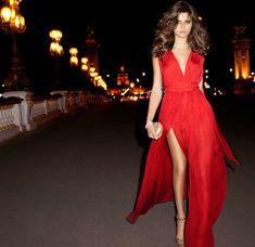 isabeli vestido largo rojo mango