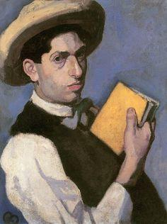 Self Portrait with Straw Hat - Róbert Berény - (Hungarian: 1887-1953)