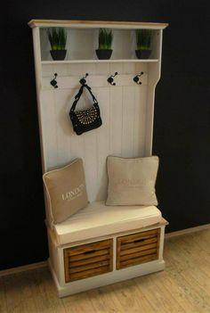 Garderobe mit Sitzbank antik Weiß Landhaus Truhenbank Truhe Kommode Flurkommode: Amazon.de: Küche & Haushalt