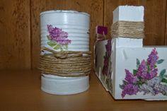 Lata decorada con decoupage y cuerda
