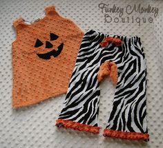 Orange Pumpkin Minky Dot Swing Top Dress Custom by FunkeyMonkeyy, $33.00