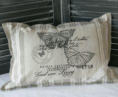 Coussin vintage toile à matelas et lin : Textiles et tapis par au-pays-des-reves