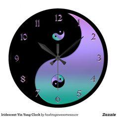 #Iridescent #Yin-Yang Clock  #zazzle