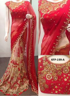 Buy Georgette With Nylon Net Red & Cream Replica Saree