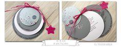 Faire-part rond thème bulle gris acier et framboise - Jolies créations, le blog des Faits à Façon