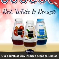 """Red, White and Renuzit®!"" I entered to win. Get festive this Fourth of July and decorate your home in patriotic style - with Red, White and Renuzit®! Enter today for your chance to win our Fourth of July inspired scents."