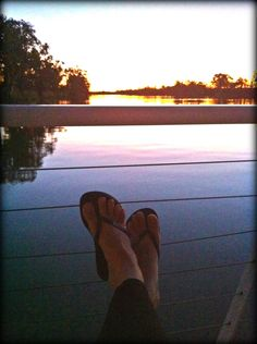 Relaxing, houseboat, Murray river, sunset, feet