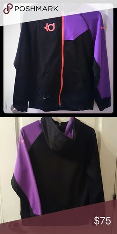 NWOT Nike KD zip up jacket sz s Therma fit zip up black purple and neon pink hoodie. Never worn! From Kevin Durant collection. Is actually youth size xl but fits womens xs or s. Amazing color combo. Nike Tops Sweatshirts & Hoodies