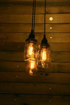 3 Quart Jar Pendant Light - Mason Jar Chandelier Light - Hanging Mason Jar Hanging Pendant Light - Clear Quart Jar Lighting   etsy.com